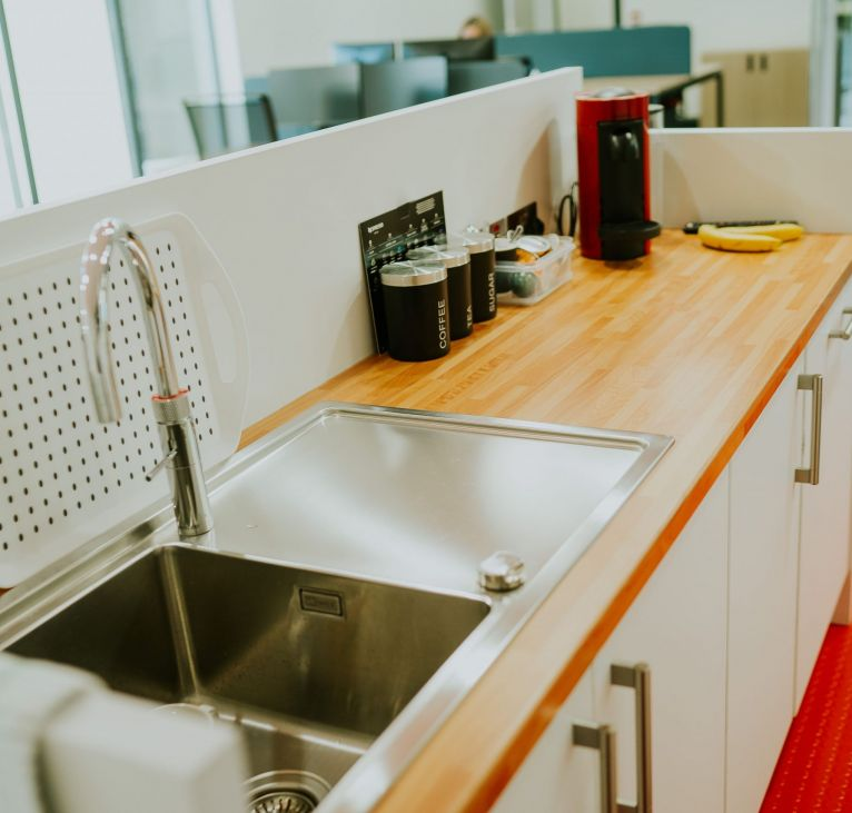 Modular building kitchen sink and countertop