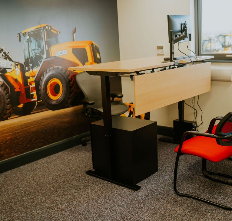 modular building office desk and chairs