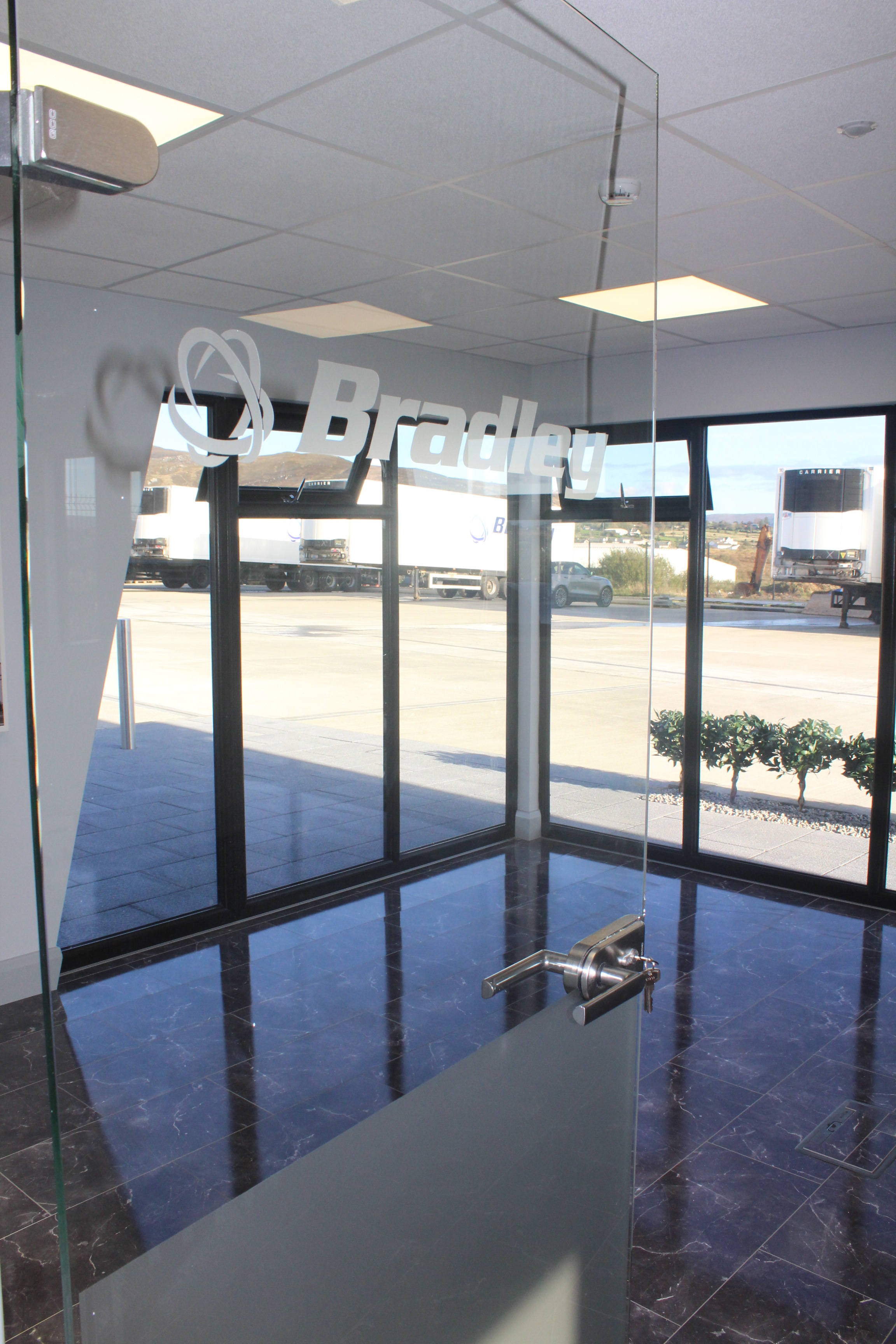 KES Group Glass branded door in a Smartbuild modular building