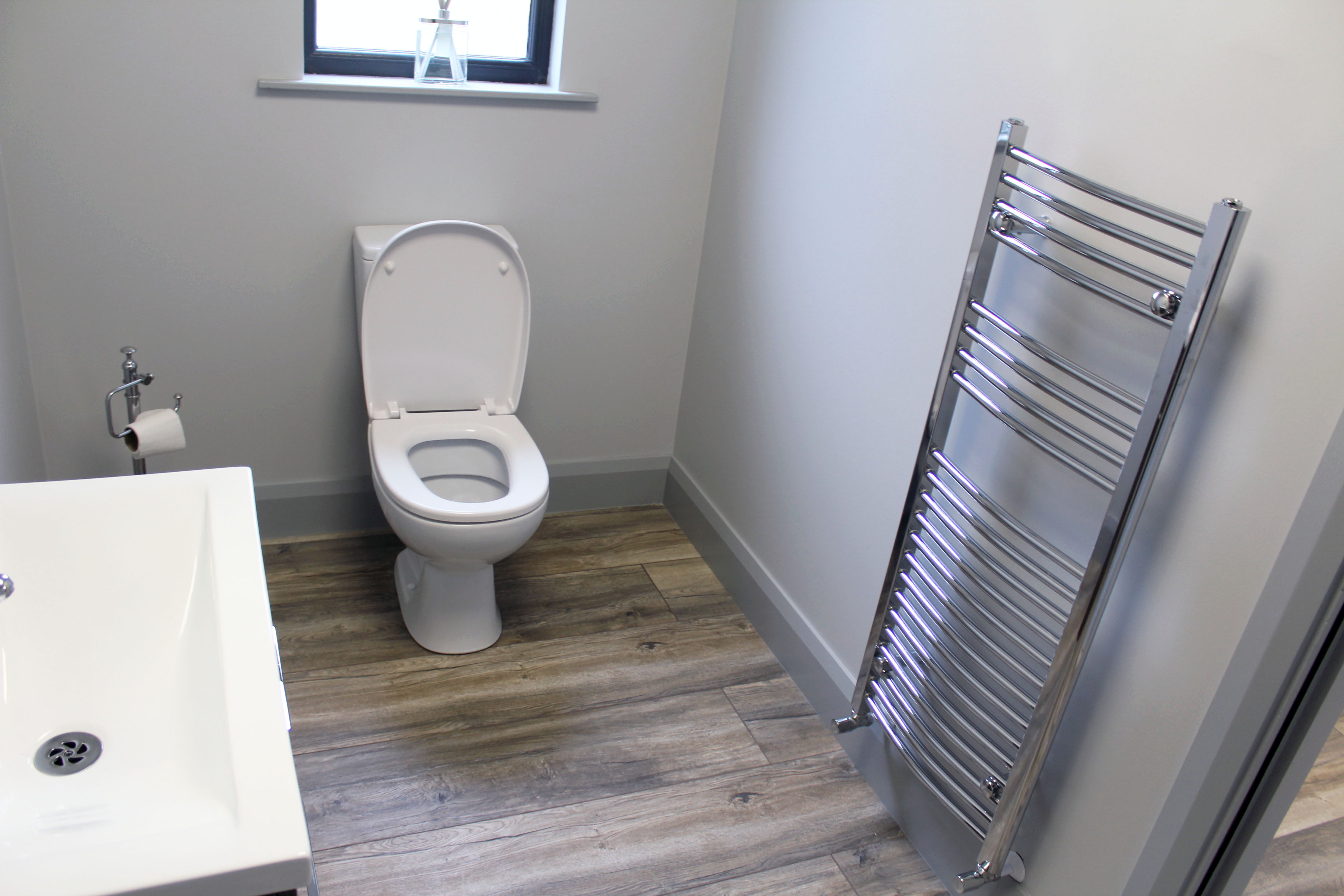 KES Group Offsite Construction Company Modular Office Toilet with Vanity Unit & Heated Towel Rail