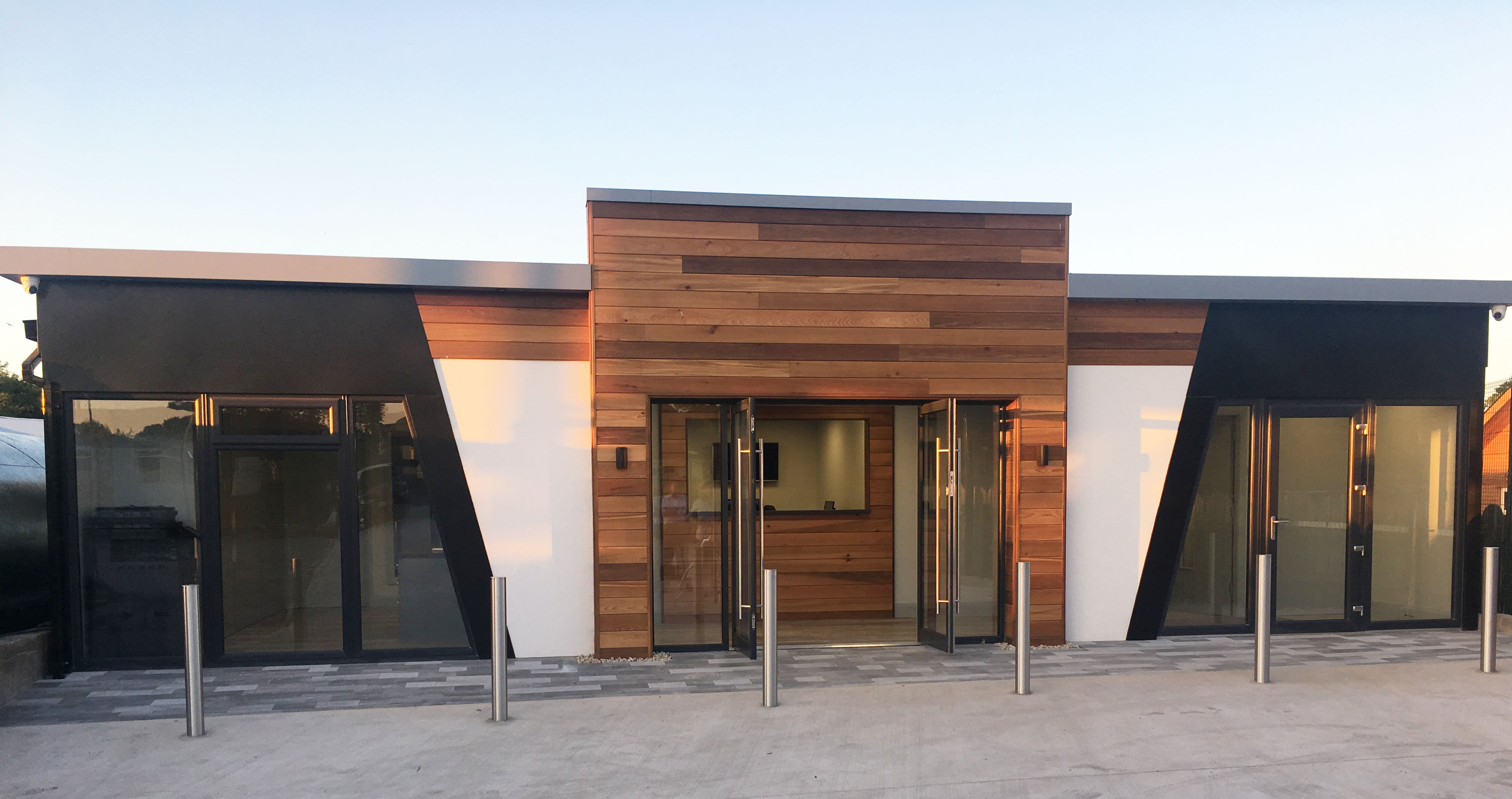 KES Group Modular Office building with wooden cladded entrance