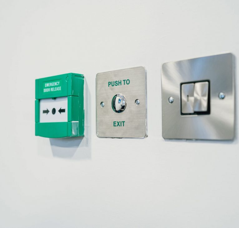emergency door release push to exit lights modular office fittings