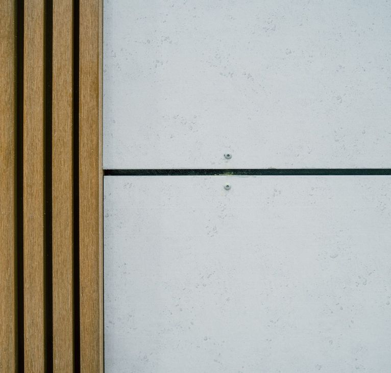Composite Wooden Panel Cladding with Rock Panel Cladding KES Group Modular Construction