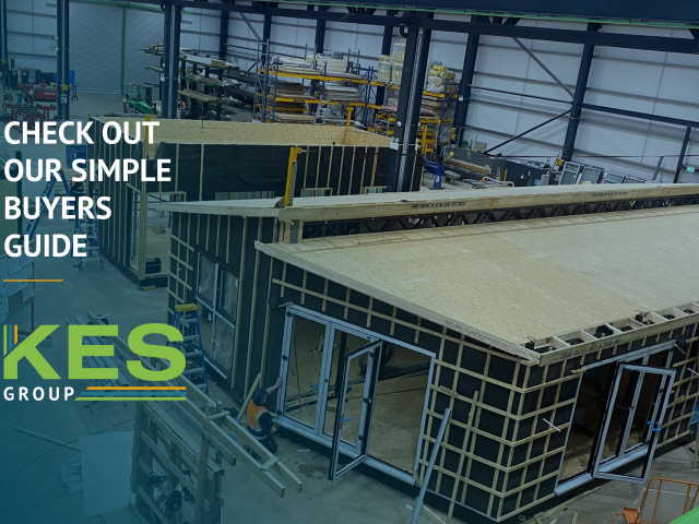 Branded image showing modular buildings in construction at KES Group.
