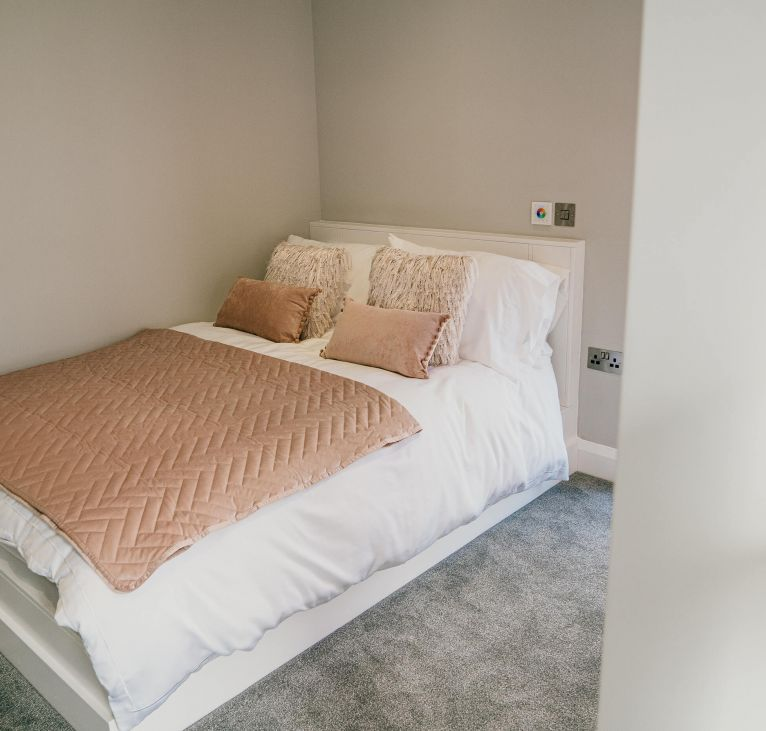 double bedroom modern pink white turnkey